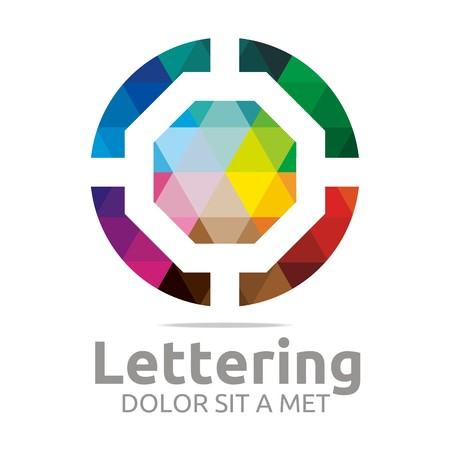 verbs: Abstract logo lettering o rainbow alphabet design vector