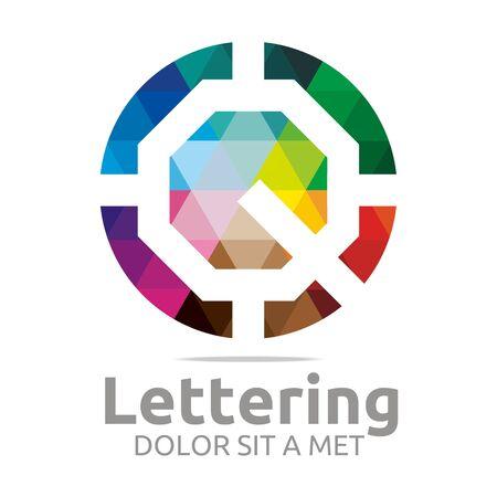 verbs: Abstract logo lettering q rainbow alphabet design vector Illustration