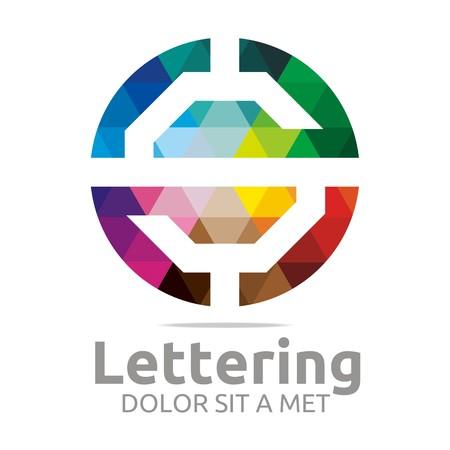 verbs: Abstract logo lettering s rainbow alphabet design vector