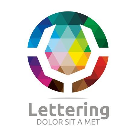 verbs: Abstract logo lettering V rainbow alphabet design vector