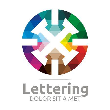 verbs: Abstract logo lettering x rainbow alphabet design vector