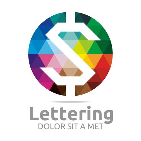 verbs: Abstract logo lettering z rainbow alphabet design vector
