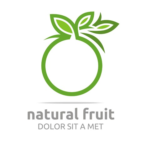 Logo natural fruit orange fresh lime leaves design vector Çizim
