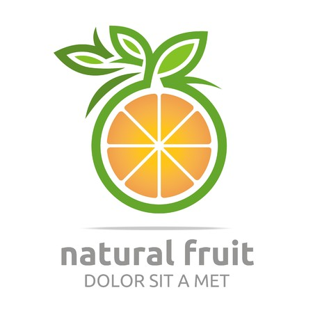 Logo natural fruit orange fresh lime leaves design vector Ilustração