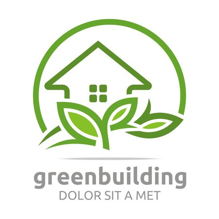 green building: Abstract logo green building leaves house symbol vector Illustration