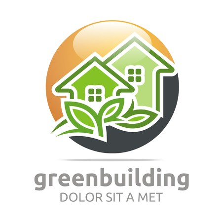 house logo: Abstract logo green building leaves house symbol vector Illustration