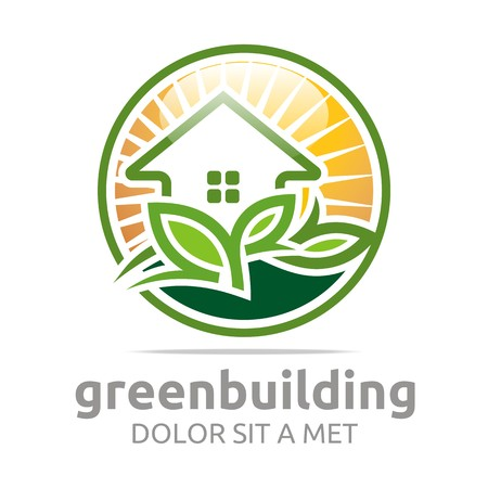 Abstract logo green building leaves house symbol vector Çizim