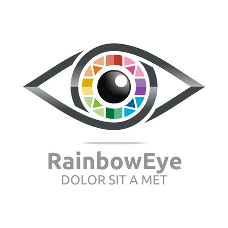 eye drawing: Abstract logo rainbow eye circle eyeball symbol vector Illustration