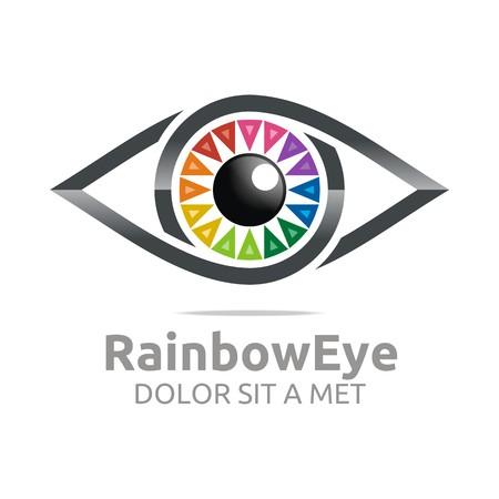 Abstract logo rainbow eye circle eyeball symbol vector Vectores