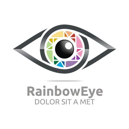 viewpoints: Abstract logo rainbow eye circle eyeball symbol vector Illustration