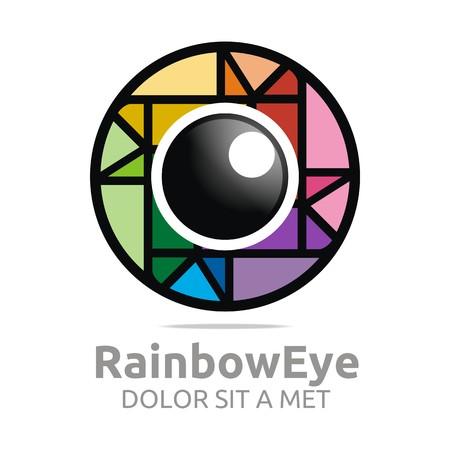 glimpse: Abstract logo rainbow eye circle eyeball symbol vector Illustration