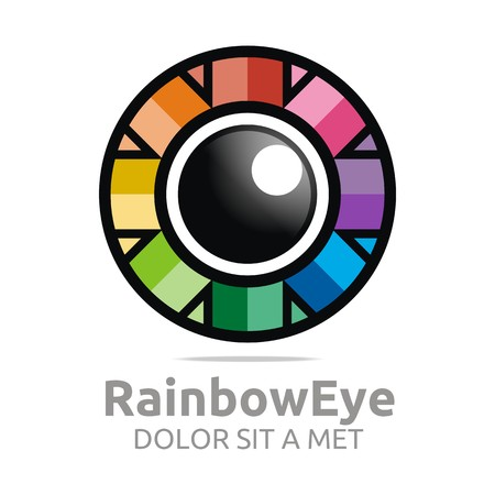 viewpoints: Abstract logo rainbow eye circle eyeball symbol vector Illustration