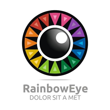beautiful eyes: Abstract logo rainbow eye circle eyeball symbol vector Illustration