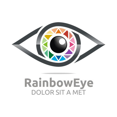 Abstract logo rainbow eye circle eyeball symbol vector Çizim