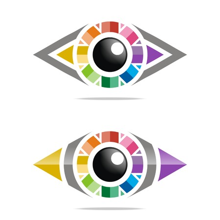 blazonry: Abstract logo rainbow eye circle eyeball symbol vector Illustration