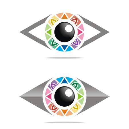 Abstract logo rainbow eye circle eyeball symbol vector Illustration