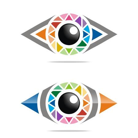 viewpoint: Abstract logo rainbow eye circle eyeball symbol vector Illustration