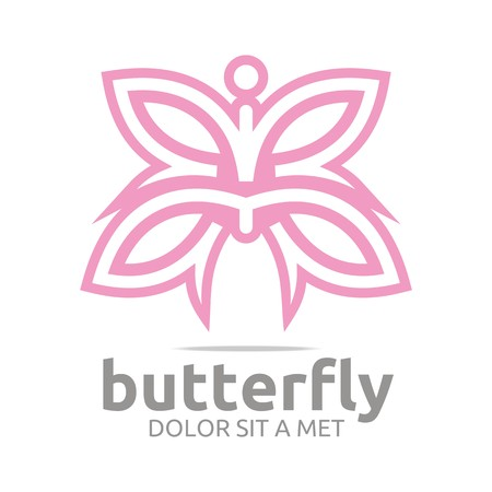 nature woman: Logo butterfly leaf pink insect spring symbol vector