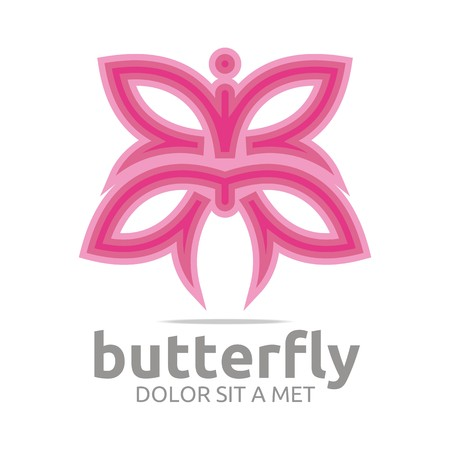 insect on leaf: Logo butterfly leaf pink insect spring symbol vector