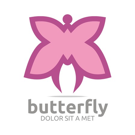 marco: Logo butterfly leaf pink insect spring symbol vector