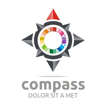 charity drive: Logo design icon compass direction place abstract vector Illustration