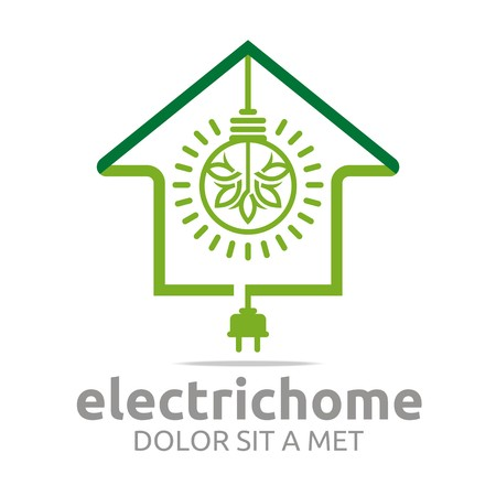 blazonry: Logo electric home light energy bright symbol vector
