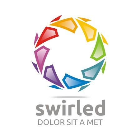 swirled: Abstract logo swirled rainbow ball symbol vector Illustration
