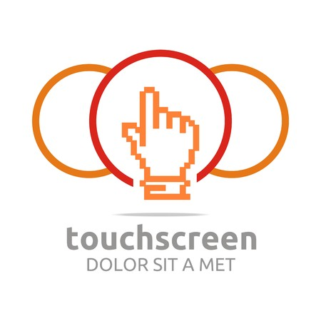 touch: Logo icon touch screen app hand circle symbol vector Illustration