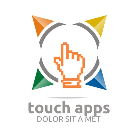 hand touch: Logo icon touch screen app hand circle symbol vector Illustration