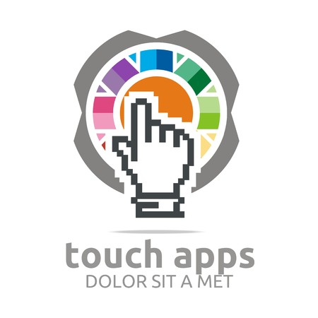 circle icon: Logo icon touch screen app hand circle symbol vector Illustration
