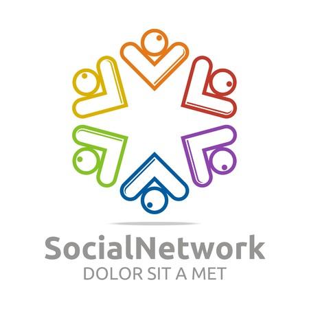 Abstract logo social network Star arrow design vector