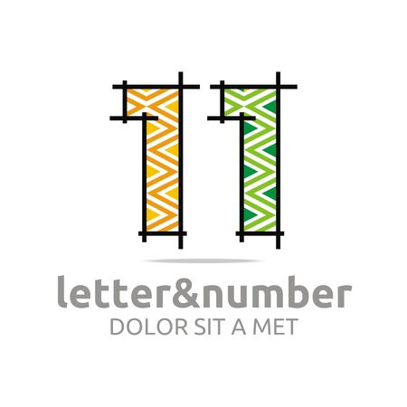 complexion: Abstract logo number 1 figure lines complexion vector