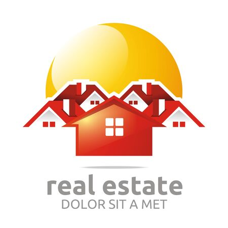 town houses: Logo design real estate buiding architecture house vector