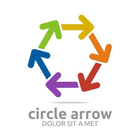 Logo circle arrow colorful design symbol icon vector