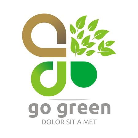 tuinontwerp: Logo go green organic garden design vector