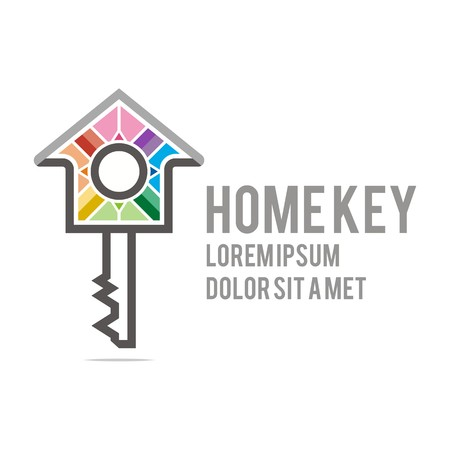 buiding: Logo home key house lock security buiding icon vector