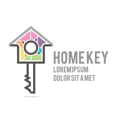 logo casa: Logo home key house lock security buiding icon vector