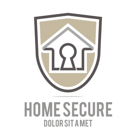 secure icon: Logo home secure house lock security buiding icon vector