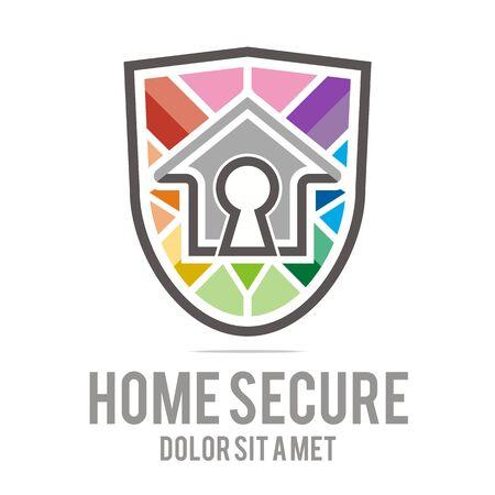 buiding: Logo home secure house lock security buiding icon vector