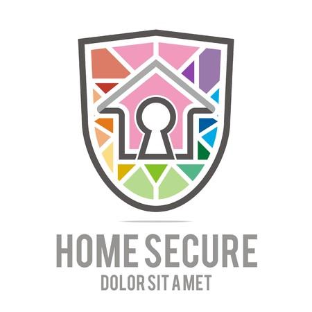 logo casa: Logo home secure house lock security buiding icon vector
