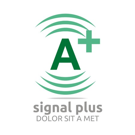 wireless signal: Logo signal letter a plus green alphabet wireless vector