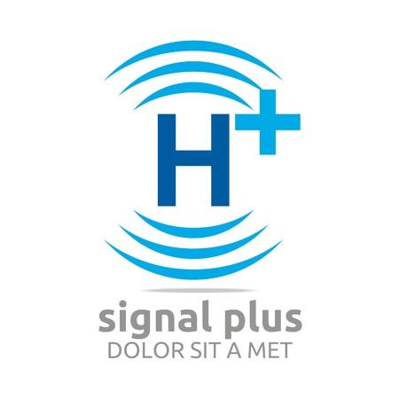 wireless signal: Logo signal letter h plus blue alphabet wireless vector Illustration