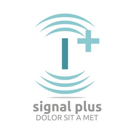 wireless signal: Logo signal letter i plus blue alphabet wireless vector
