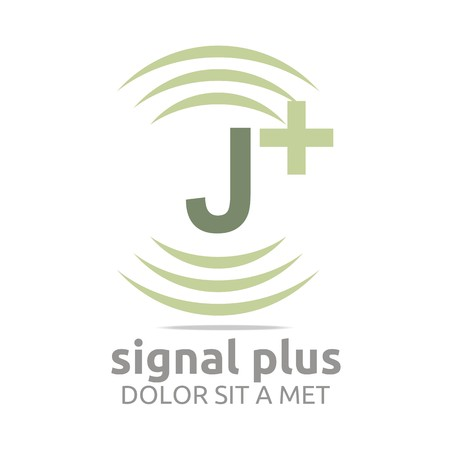 wireless signal: Logo signal letter j plus green alphabet wireless vector