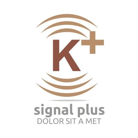 wireless signal: Logo signal letter k plus brown alphabet wireless vector Illustration