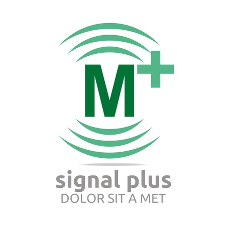 Logo signal letter M plus green alphabet wireless vector