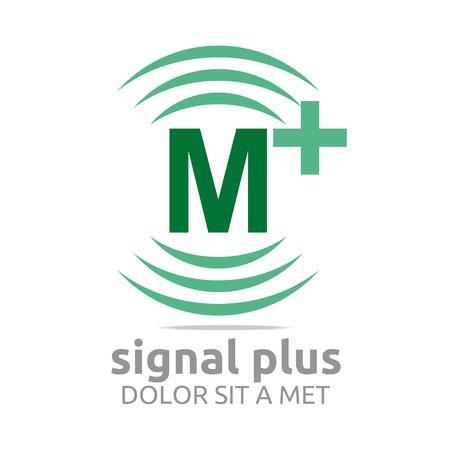 Logo signal letter M plus green alphabet wireless vector