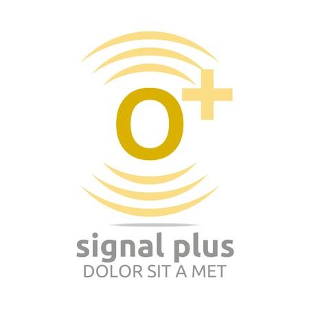 wireless signal: Logo signal letter o plus yellow alphabet wireless vector Illustration