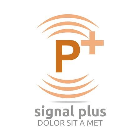 wireless signal: Logo signal letter P plus brown alphabet wireless vector Illustration