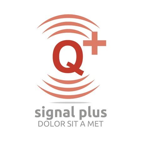 wireless signal: Logo signal letter Q plus brown alphabet wireless vector Illustration